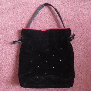 Victoria's Secret Black Velvet Drawstring Bag
